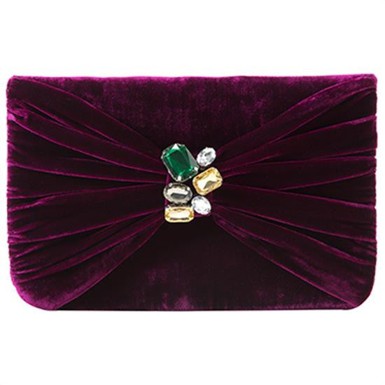 Serafina Gemstone Clutch in Wine