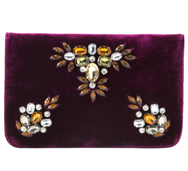 Sala Gemstone Clutch in Wine
