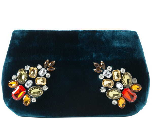 Paola Gemstone Jeweled Zip Pouch in Emerald