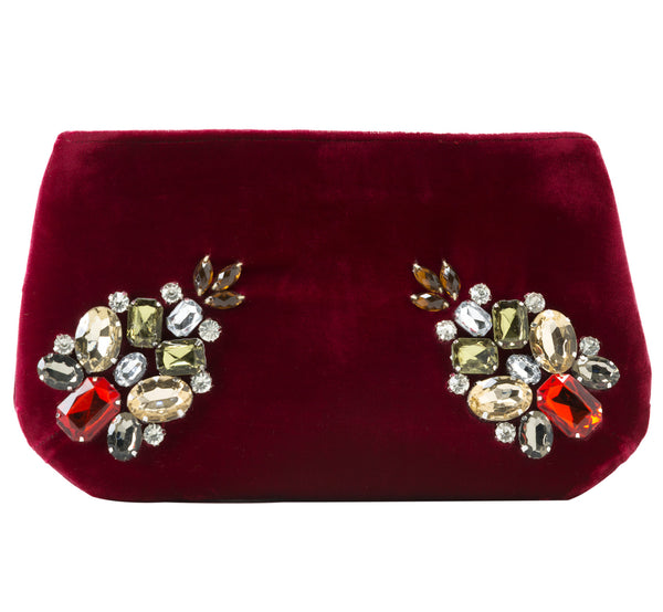 Paola Gemstone Jeweled Zip Pouch in Scarlet