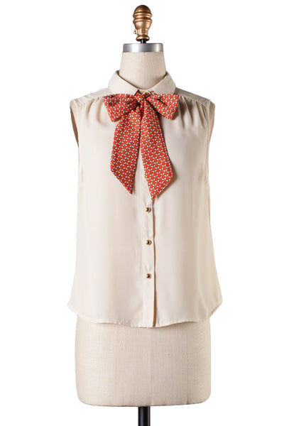 Cream Golden Button-up Sleeveless Top with Pussy Bow Tie
