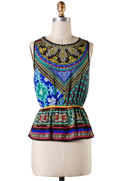 Adventurous Pattern Peplum Sleeveless Top
