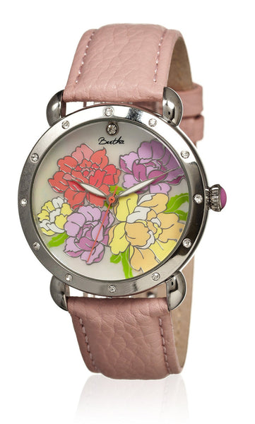 Bertha Angela Light Pink/Multicolor Leather Watch