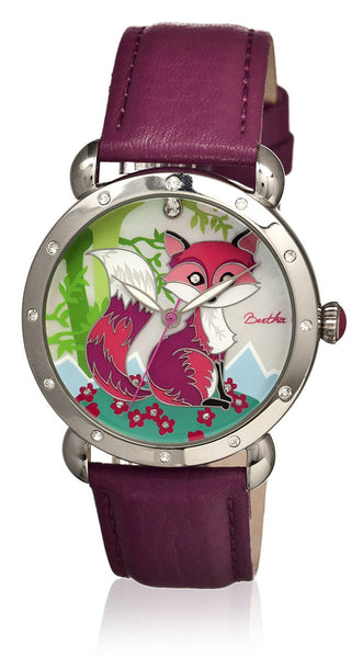 Bertha Vivica Fushia/Multicolor Leather Watch