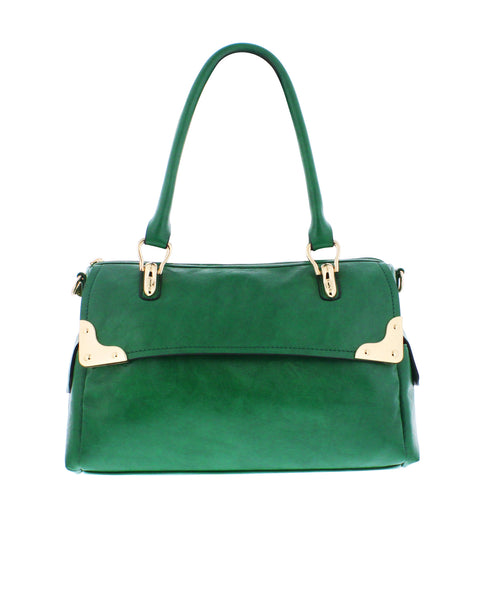 Alicia Shoulder Satchel in Green, by Melie Bianco