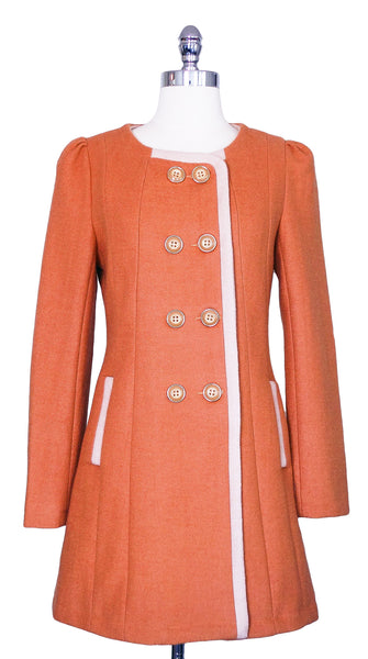 The Debutant Wool Blend Coat in Coral Orange, by Pink Martini