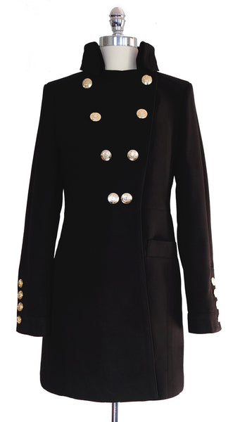 The Irena Coat in Black with Gold Buttons, by Pink Martini