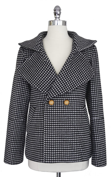 The Philomena Coat Houndstooth Black