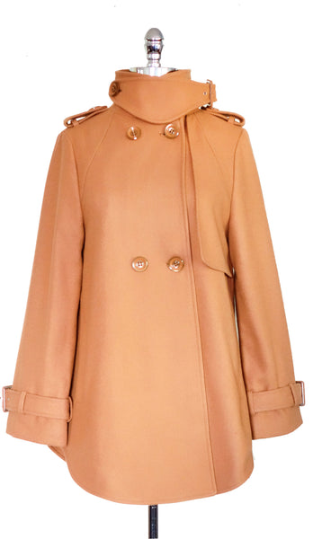 Melody Wool Cape Coat in Beige, by Pink Martini