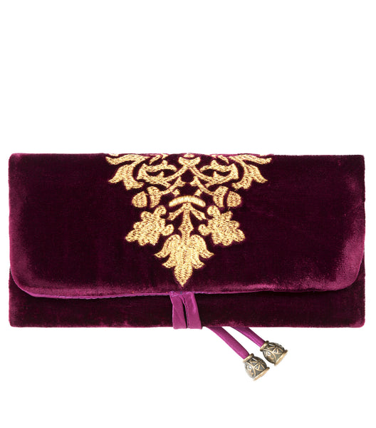 Arabela Jewelry Pouch - Embroidered Jewelry Roll