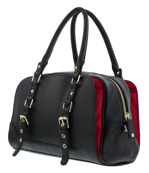 Lucille Top Handle Bag in Black, by Melie Bianco