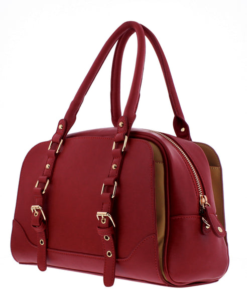 Lucille Top Handle Bag in Red, by Melie Bianco