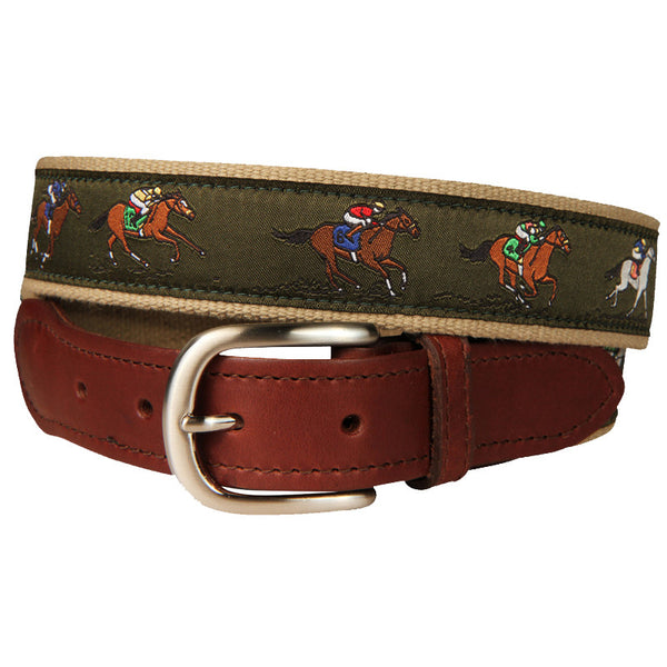 Derby Leather Tab Belt (Forest Green)