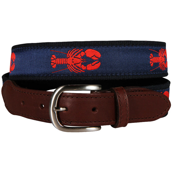 Maine Lobster Leather Tab Belt (Navy)