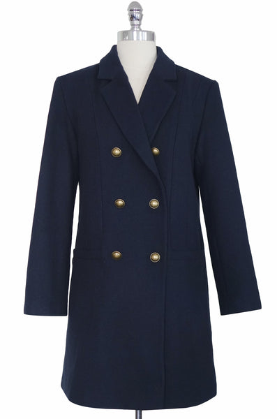 The Kaia Wool Blended Coat in Navy, by Pink Martini