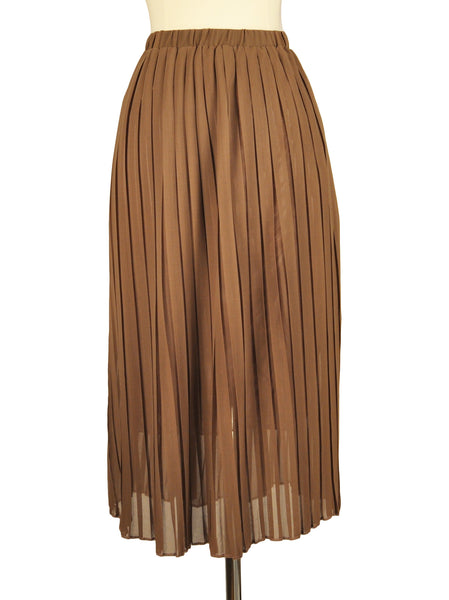 Camel Chiffon Pleated Skirt