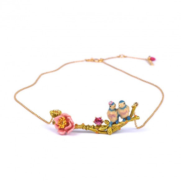 Delicate necklace with couple of birds on their branch
