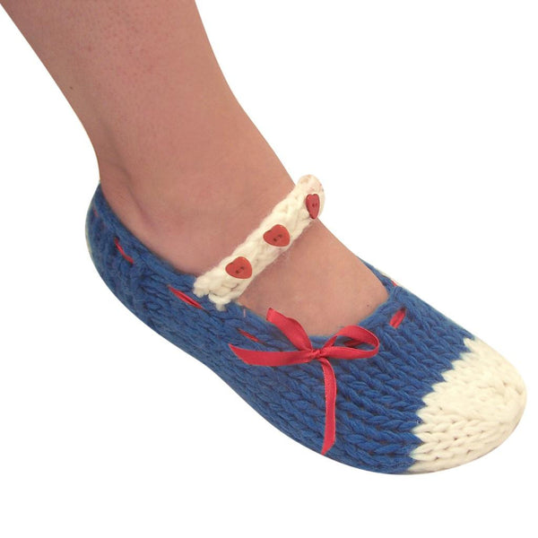 Dollface Blue Knitted Slippers