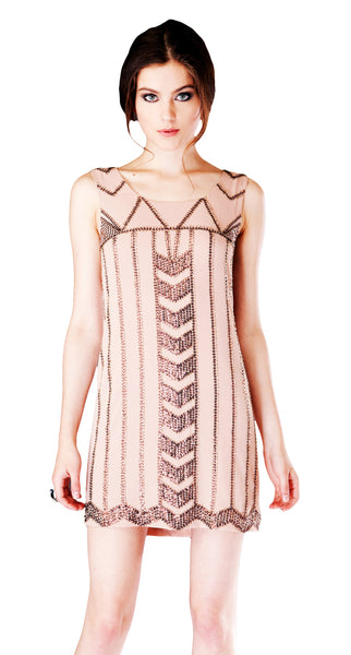 Art Deco Beaded Sheath Dress in Nude by Fable