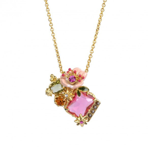 Dazzling discretion pink flower and stars necklace