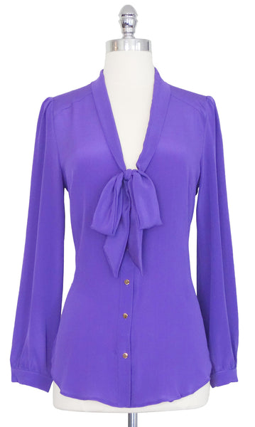 The Liz 100% Silk Blouse in Lavender, by Pink Martini