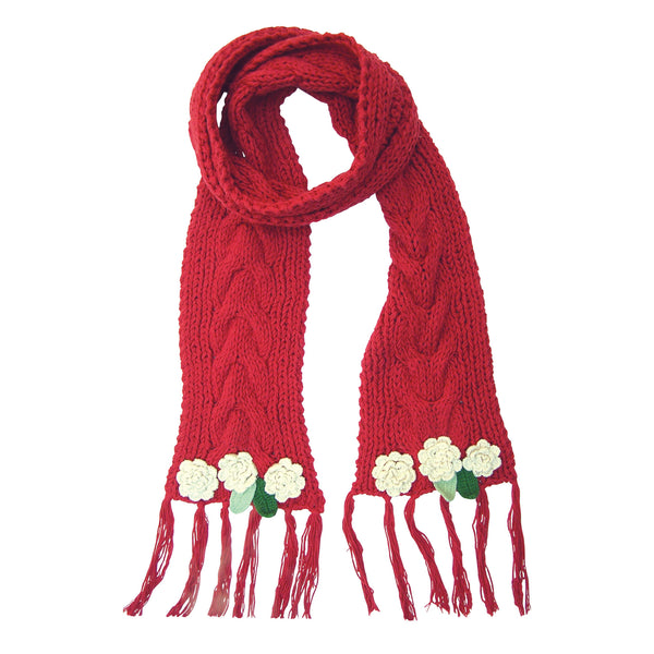 Rose Garden Knitted Red Scarf