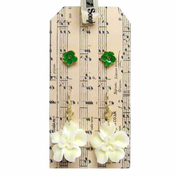 Songbird Cream and Green Flowers Earring Set