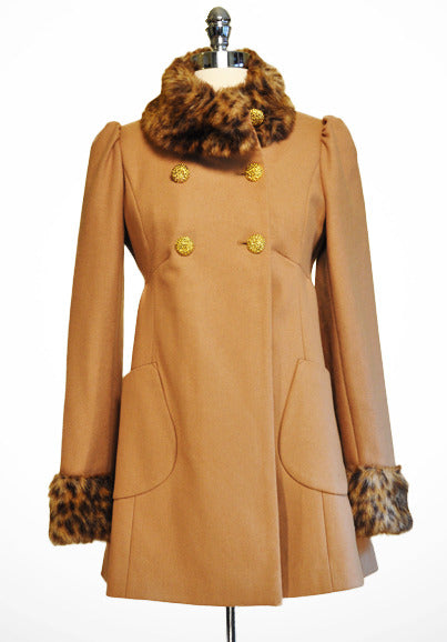 Camel Coat With Vegan Fur by Miss Selfridge