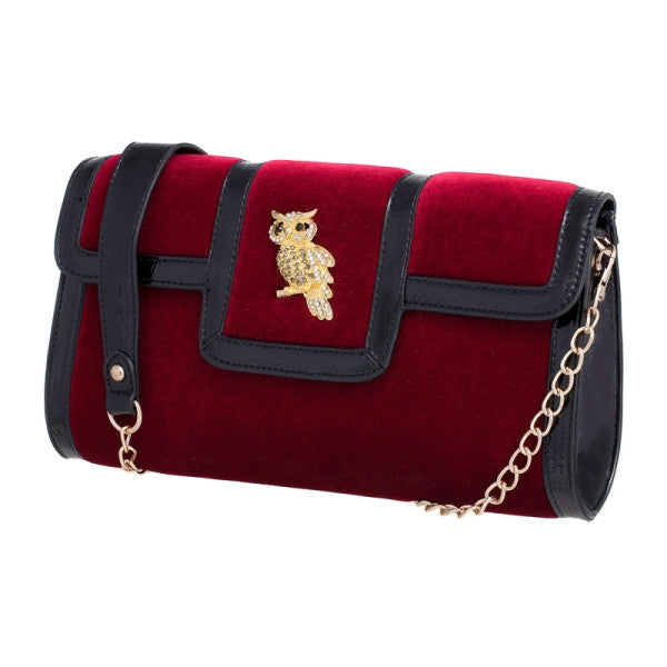 Winnie Velvet Owl Clutch in Wine, by Melie Bianco