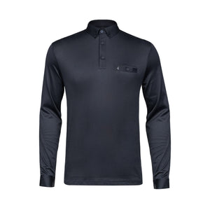 Mens Plain Long Sleeve Plated Jersey Polo Shirt Gabicci Vintage - V45GX21 Navy