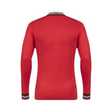 Mens Patterned Long Sleeve Knitted Three Button Polo Top Gabicci Vintage - V45GM05 Lava