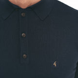 Mens Plain Short Sleeve Knitted Three Button Polo Top Gabicci Vintage - V45GK04 Navy
