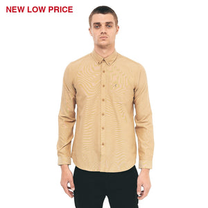 Mens Long Sleeve Oxford Shirt Gabicci Vintage - V41GW17 Honey