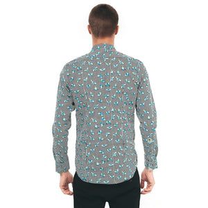 Mens Long Sleeve Shirt Gabicci Maddox St London - M40MW06 Peacock