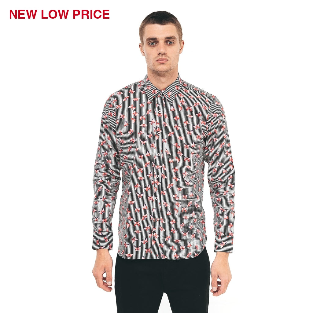Mens Long Sleeve Shirt Gabicci Maddox St London - M40MW06 Flamingo