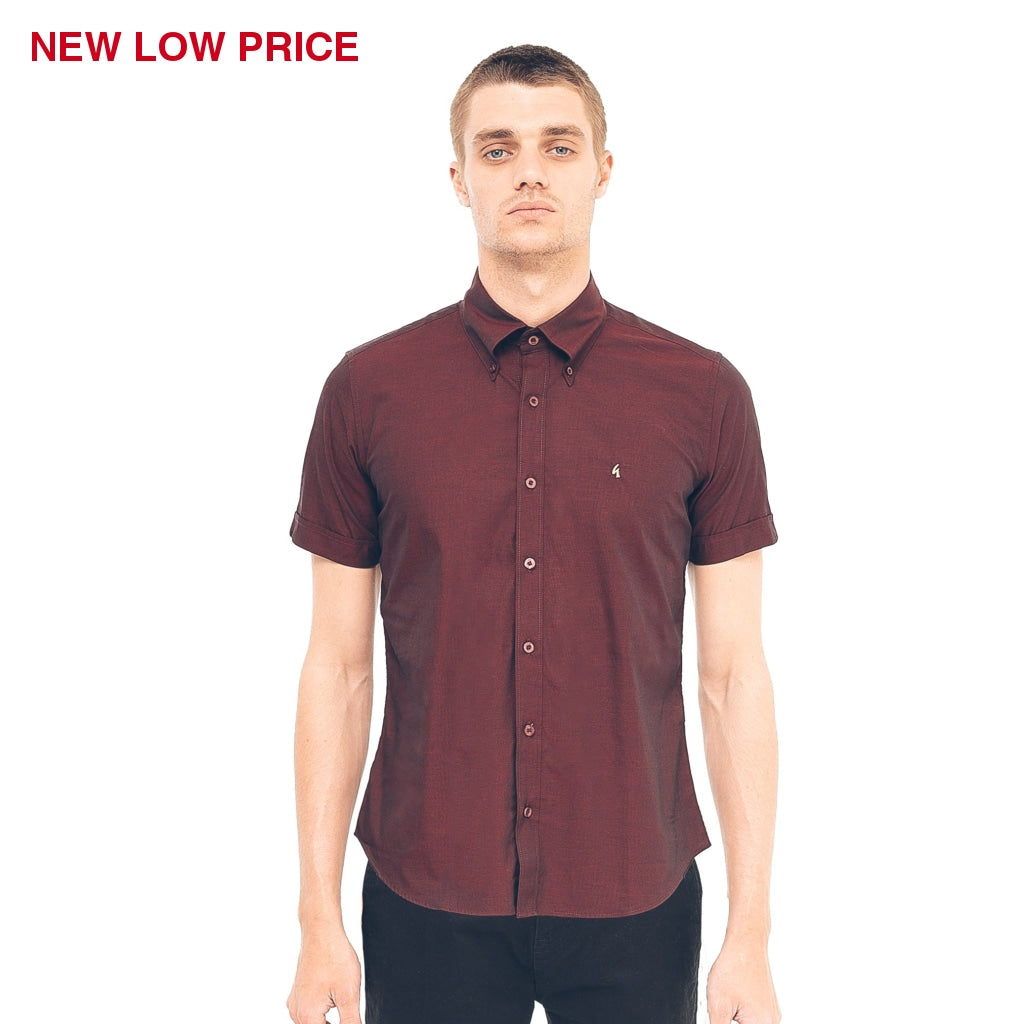 Mens Short Sleeve Woven Shirt Gabicci Vintage - V40GW10 Port