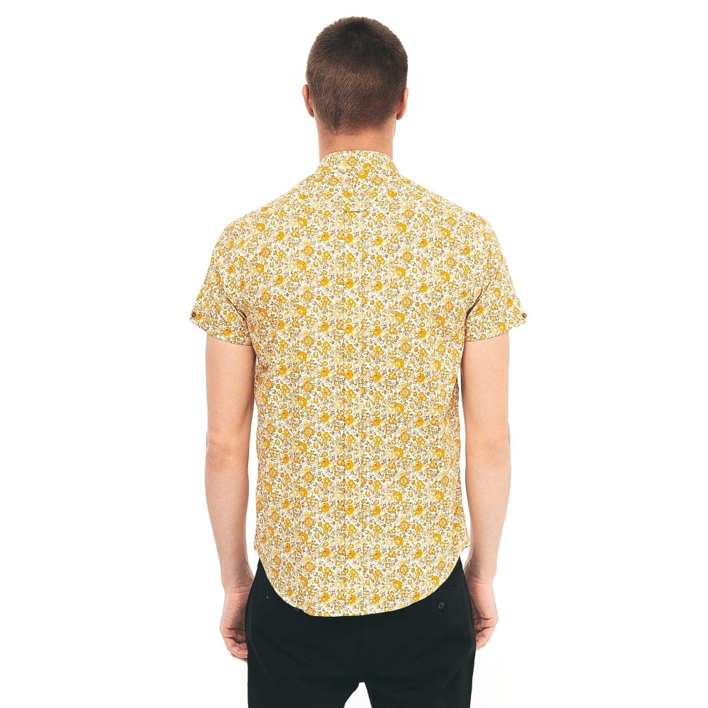 Mens Short Sleeve Woven Shirt Gabicci Vintage - V40GW09 Butter
