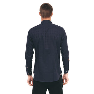 Mens Long Sleeve Shirt Gabicci Maddox St London - M41MW03 Navy