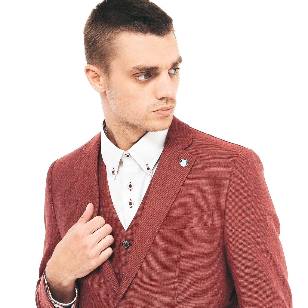 Mens Tailored Jacket Gabicci Maddox St London - M40MJ10 Redcurrant