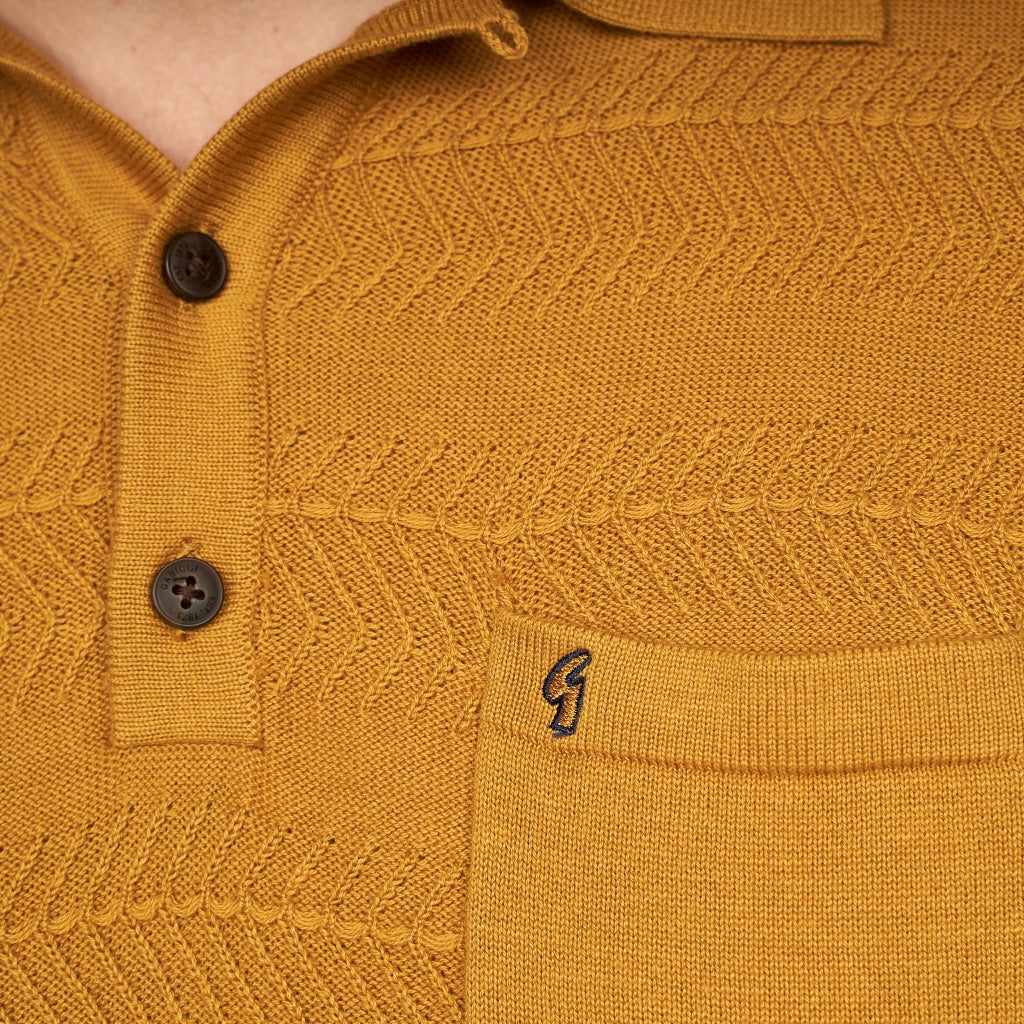 Mens Polo Collar Sweater Gabicci Classic  - G44M14 Hay