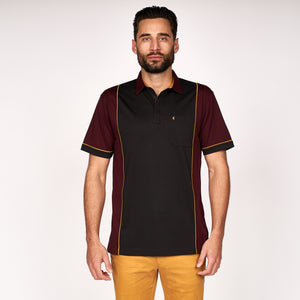 Mens Short Sleeve Plated Jersey Polo Shirt Gabicci Classic - G45X08 Oxblood