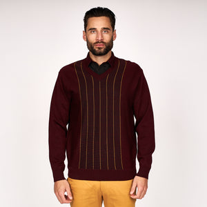 Mens Patterned Vee Neck Sweater Gabicci Classic - G45M08 Oxblood