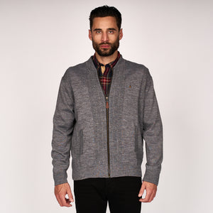 Mens Zip Through Knitted Jacket Gabicci Classic - G45M17 Grey