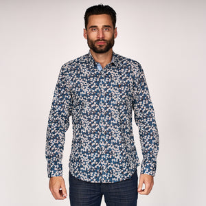 Mens Long Sleeve Woven Shirt Gabicci Classic - G45W07 Navy