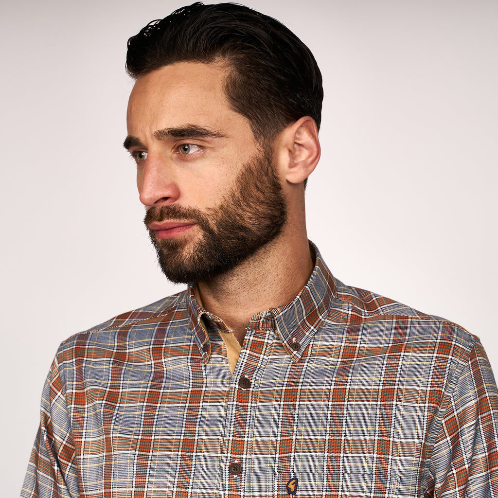 Mens Long Sleeve Woven Shirt Gabicci Classic - G45W01 Rust