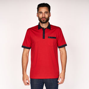 Mens Short Sleeve Plated Jersey Polo Shirt Gabicci Classic - G45X10 Lava