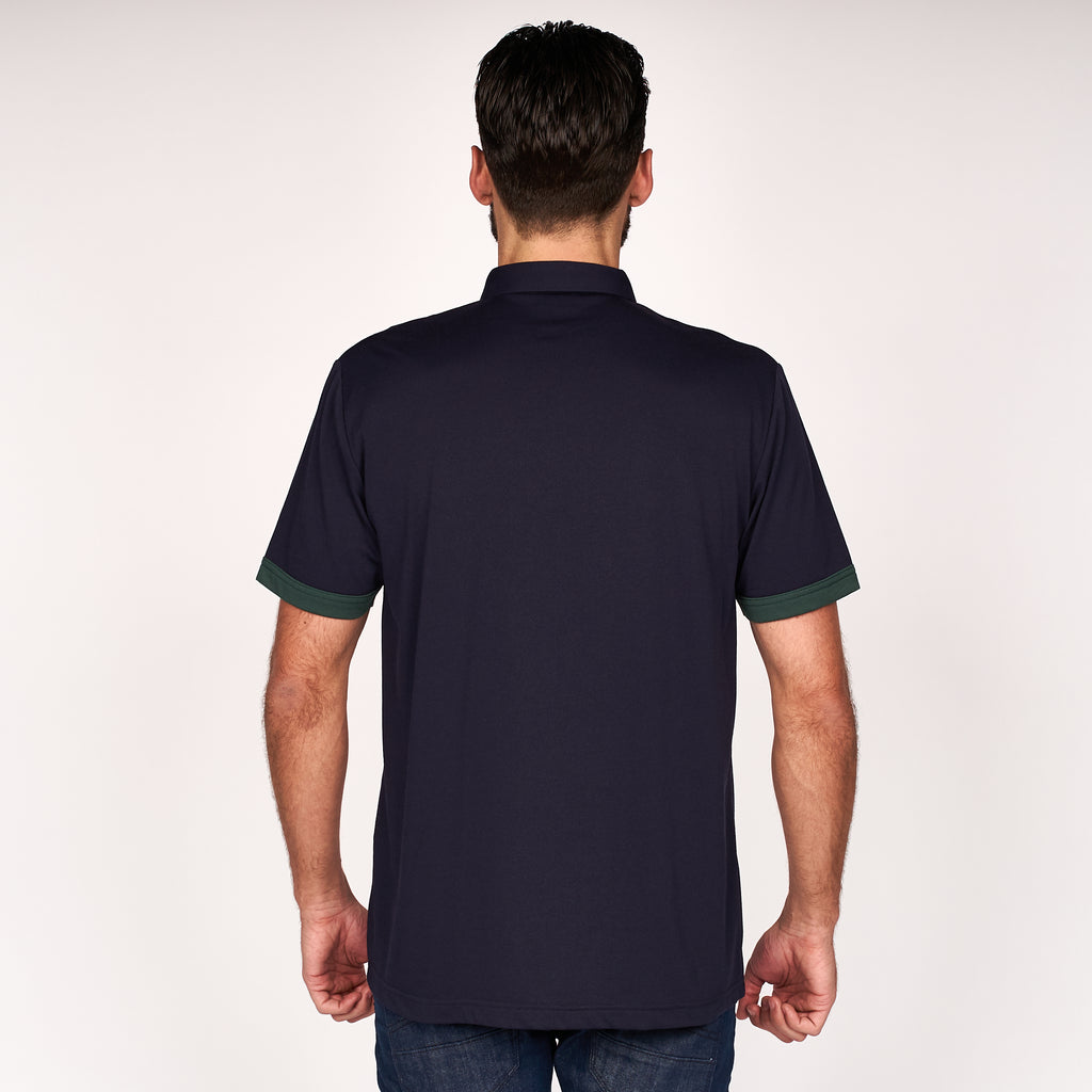Mens Short Sleeve Plated Jersey Polo Shirt Gabicci Classic - G45X01 Navy