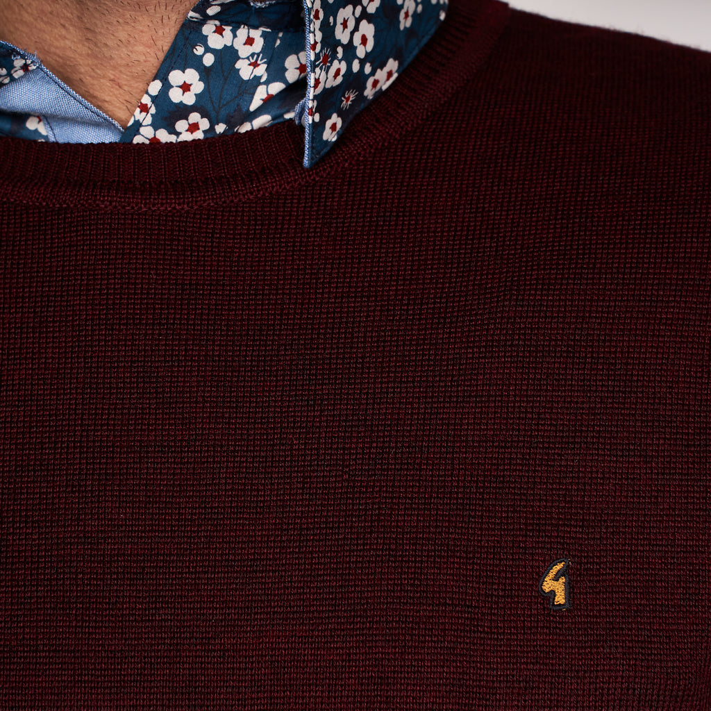 Mens Plain Crew Neck Sweater Gabicci Classic - G45K04 Oxblood