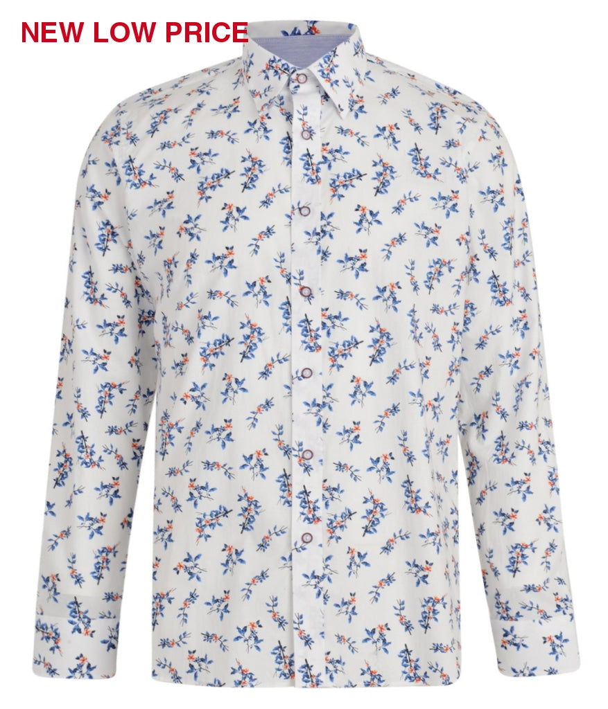 Mens Long Sleeve Shirt Gabicci Maddox St London - M42MW06 White