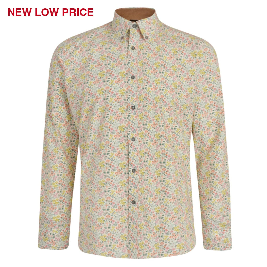 Mens Long Sleeve Shirt Gabicci Maddox Street London - M42MW09 Cheddar